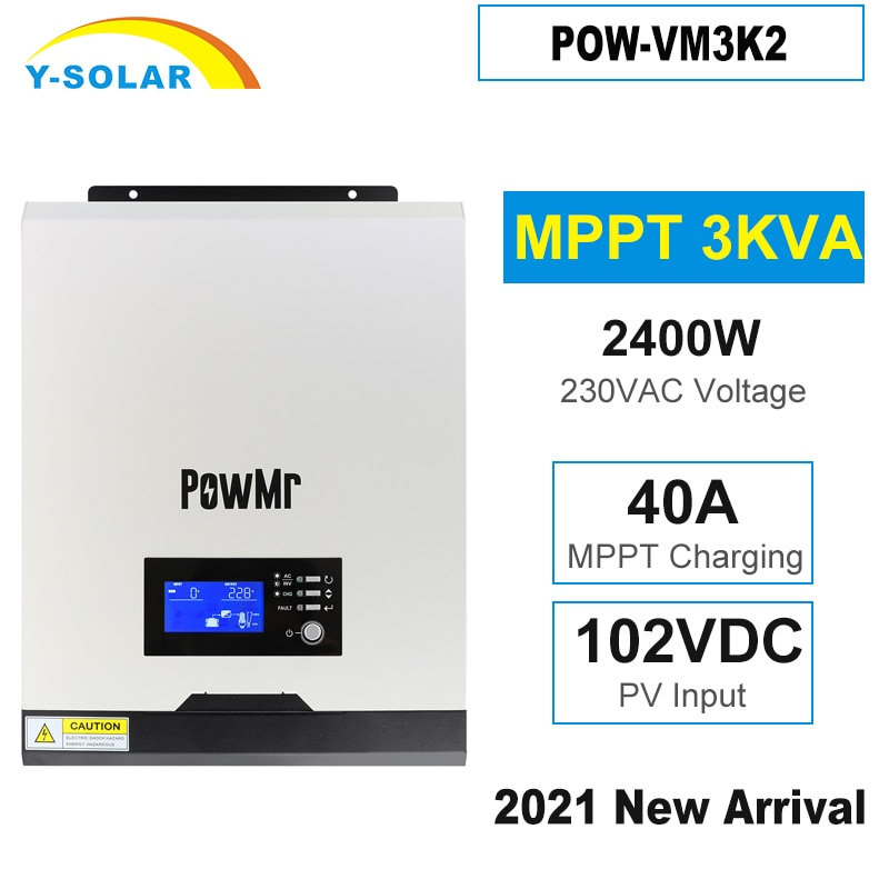 Y-sola 3000va 2400 واط الشمسية العاكس 24 فولت 230VAC 50 هرتز/60 هرتز الهجين العاكس موجة جيبية نقية MPPT 40A شاحن بطارية Inversor جديد