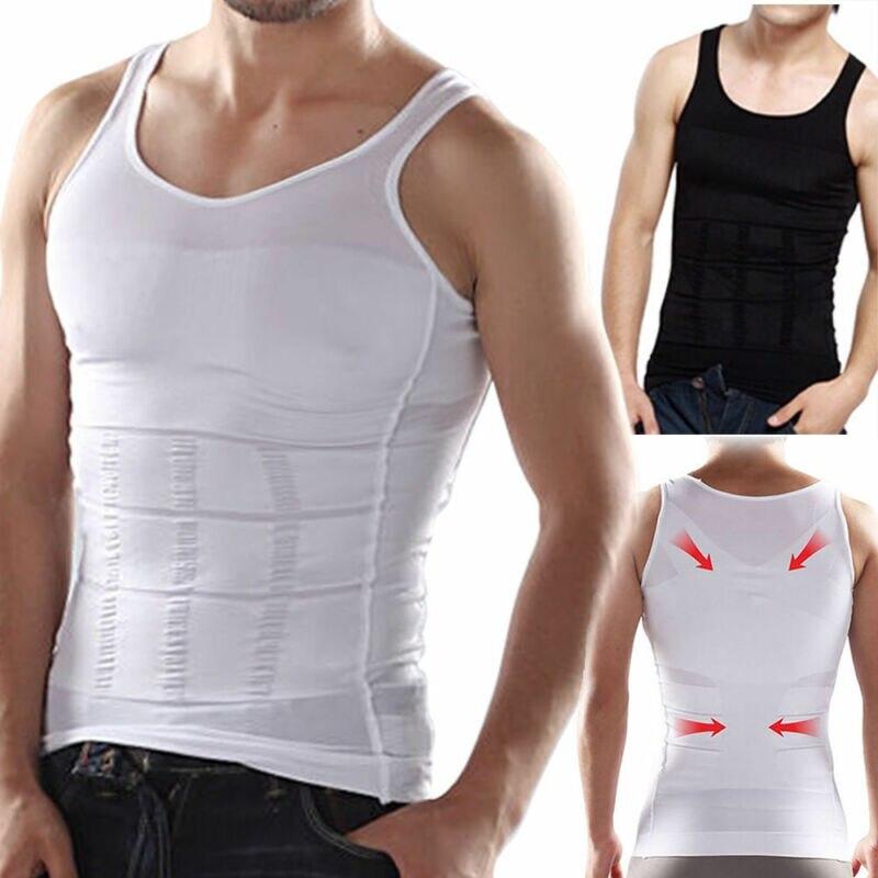 T-shirt moulant et Sexy pour hommes, sous-vêtement moulant pour le ventre et le corps