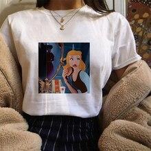 Harajuku T-shirt Spoof Funny Princess Print Women Vintage Harajuku Kawaii TShirt Fashion Short Sleeve Tops Camiseta Mujer 2019