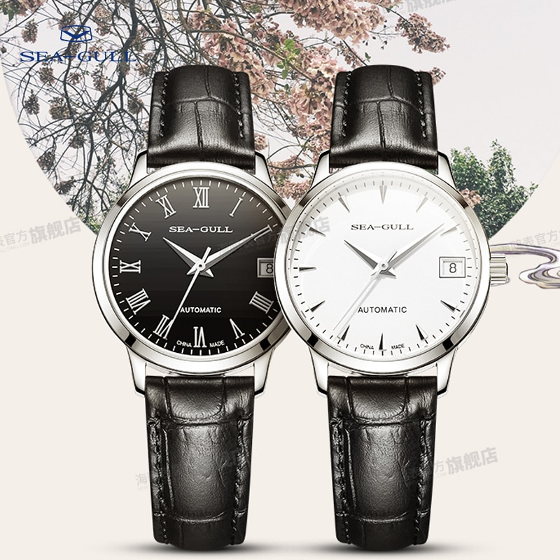 Seagull watch ladies mechanical watch business simple belt automatic mechanical watch calendar watch waterproof 6042L enlarge