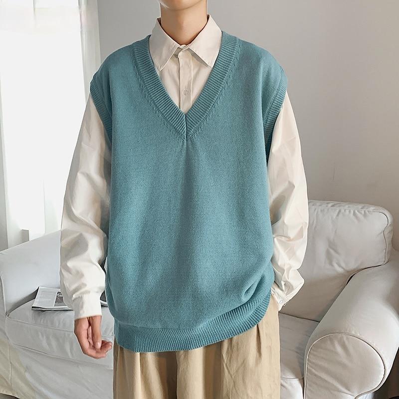 Мужской свитер, жилет, однотонный Простой повседневный свободный трикотажный свитер без рукавов с V-образным вырезом, мужская повседневная ...