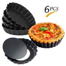 6 teile/satz Nicht-Stick Pie Pizza Pan Formen Kuchen Runde Form Abnehmbaren Boden 4 Zoll Mini Torte Pfannen Backformen