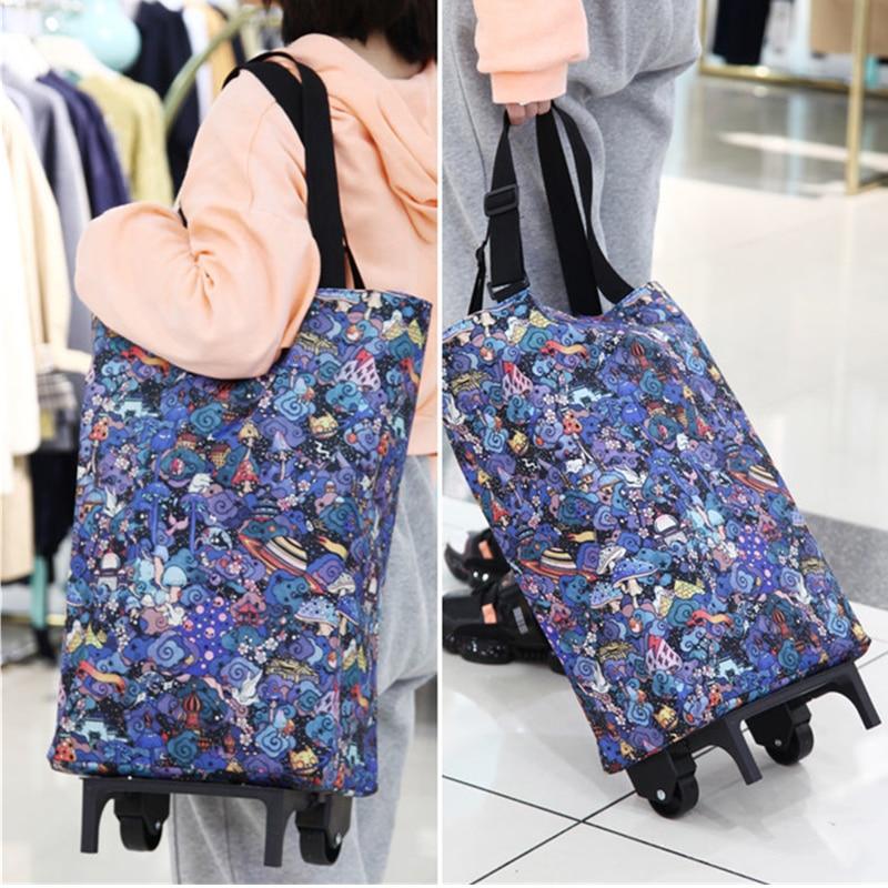 Alimentos organizador con forma de carrito de bolsa con ruedas de bolsa de compras plegable portatil de compra bolsa para vegetales