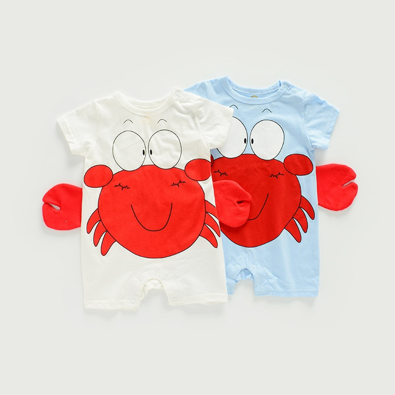 Infant Toddler Baby Boys Summer Clothing One Piece Short Sleeve Cotton Rompers Cute Crab Blue Jumpsu