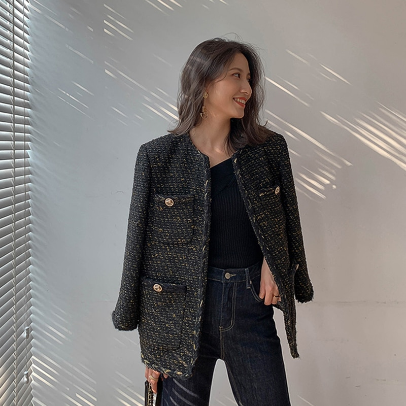 Vintage negro chaqueta de Tweed 2019 nuevo Otoño e Invierno de moda de lana elegante OL abrigo femenina