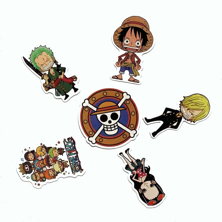 6PCS Japanese anime Monkey·D·Luffy stickers For laptop suitcase Freezer Vinyl Car-styling DIY decoration Decals Car Sticker