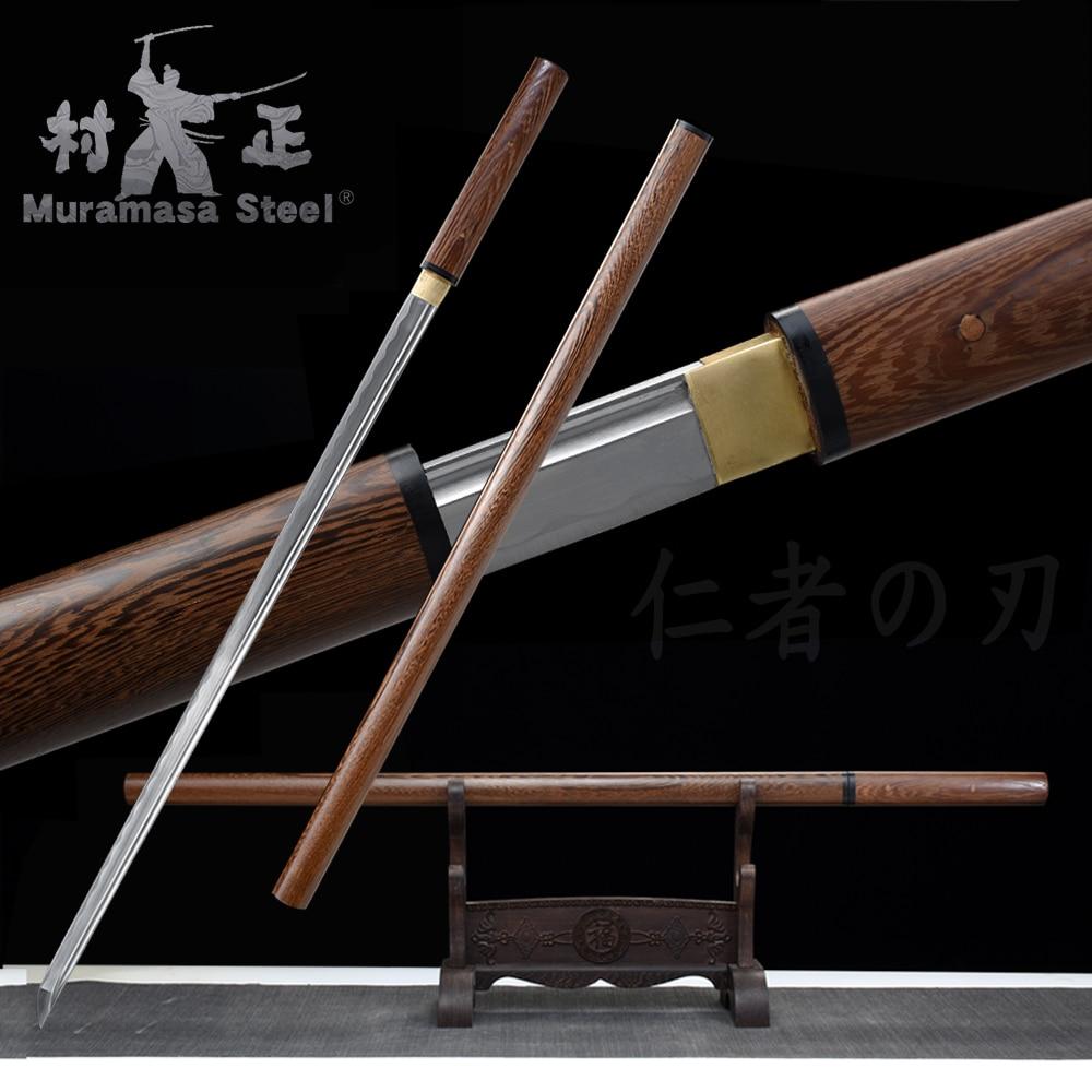 شفرة كاتانا شيرايا اليابانية 1060 ، شفرة فولاذية عالية الكربون ، حادة ، جاهزة للمعارك ، سيف رونين يدويًا ، غمد خشب وردي