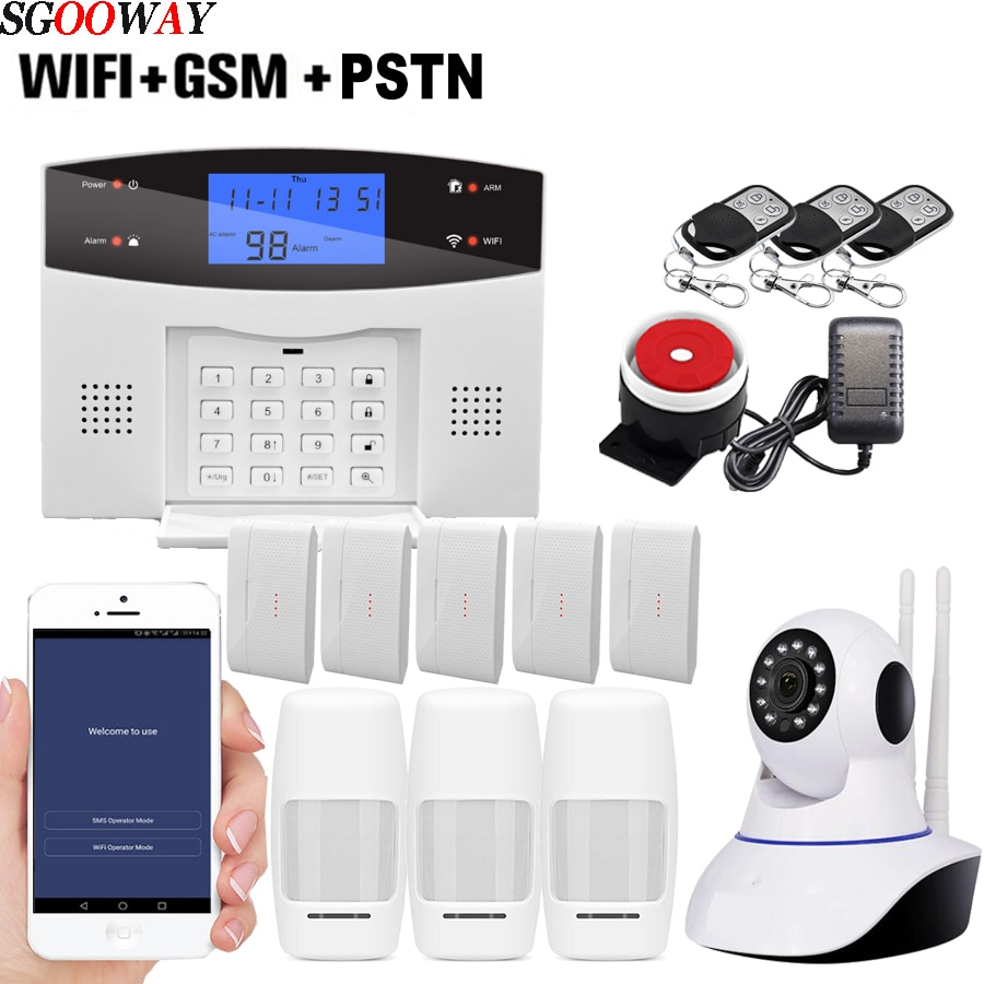 Sgooway Factory Wireless Wifi Gsm Pstn Alarm System Sms Burglar Security Alarm With Ip Camera Support Ios Android App Leather Bag
