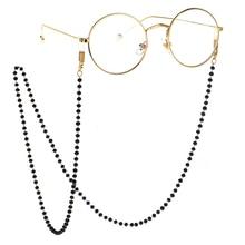 Mujeres Hombres tira de cadena para gafas de acrílico cristal negro cuentas gafas collar Metal gafas cordón