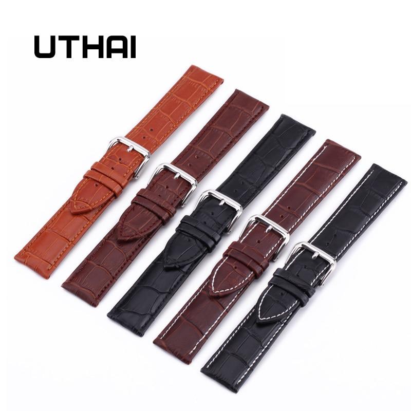 Correa de reloj UTHAI Z08 correas de cuero genuino 10-24mm accesorios de reloj correas de reloj de colores marrones de alta calidad