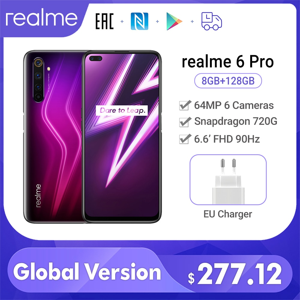 Realme 6 pro smartphone 8gb ram 128gb rom versão global 6.6 90 90hz 64mp câmera snapdragon 720g 30w flash carga nfc celular