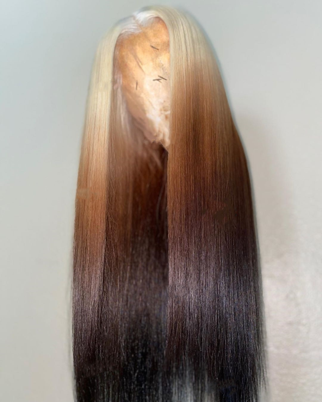 Blonde Ombre Honey Brown Straight Human Hair Wig Lace Front With Baby Hair Lace Wigs 180 Density