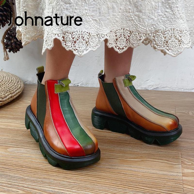 Johnature جلد طبيعي مختلط الألوان النساء أحذية حذاء من الجلد 2021 جديد الخريف الشتاء جولة تو اليدوية موجزة السيدات الأحذية