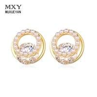 muxueyan double layer ear studs for woman white zircon small pearl earrings 2021 trend piercing fashion jewelry