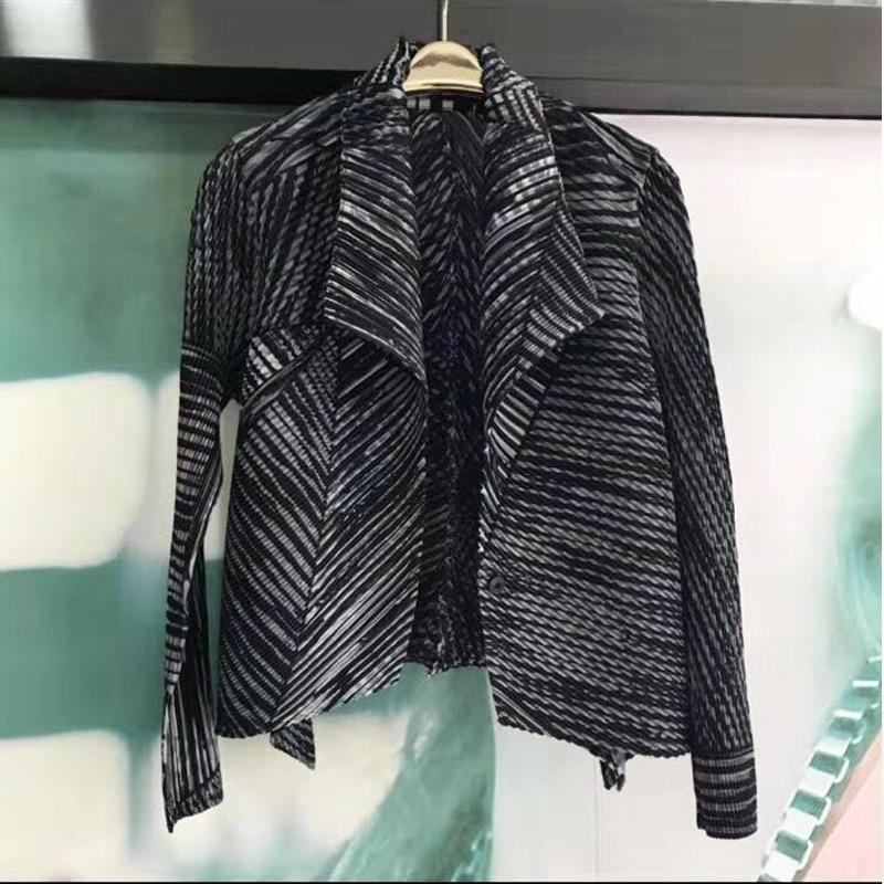 Changpleat 2019 otoño nueva chaqueta estampada para mujer abrigo Miyak plisado moda manga larga grande elástico Slim Outwear cardigan abrigos