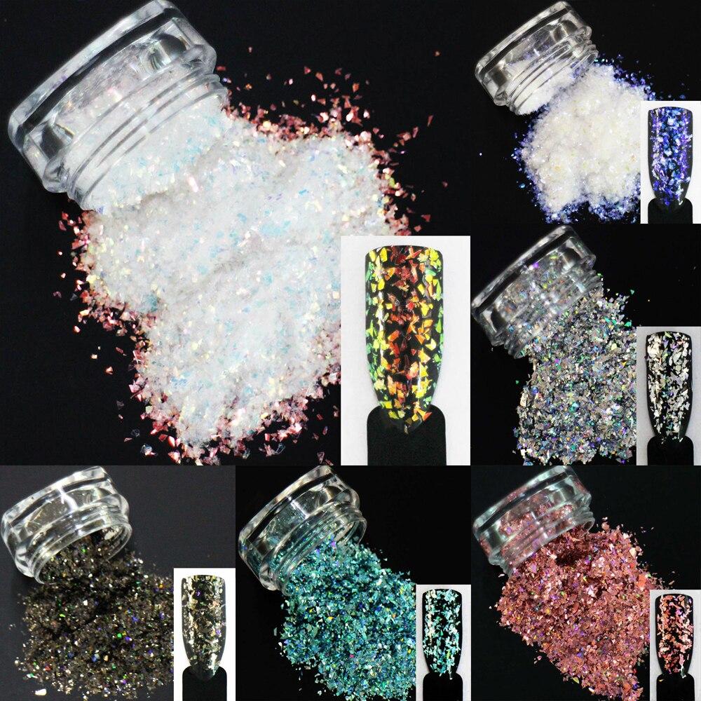 ¡18 opciones de colores! Lentejuelas irregulares brillo para decoración de uñas Paillettes polvo de hojuelas Decoración