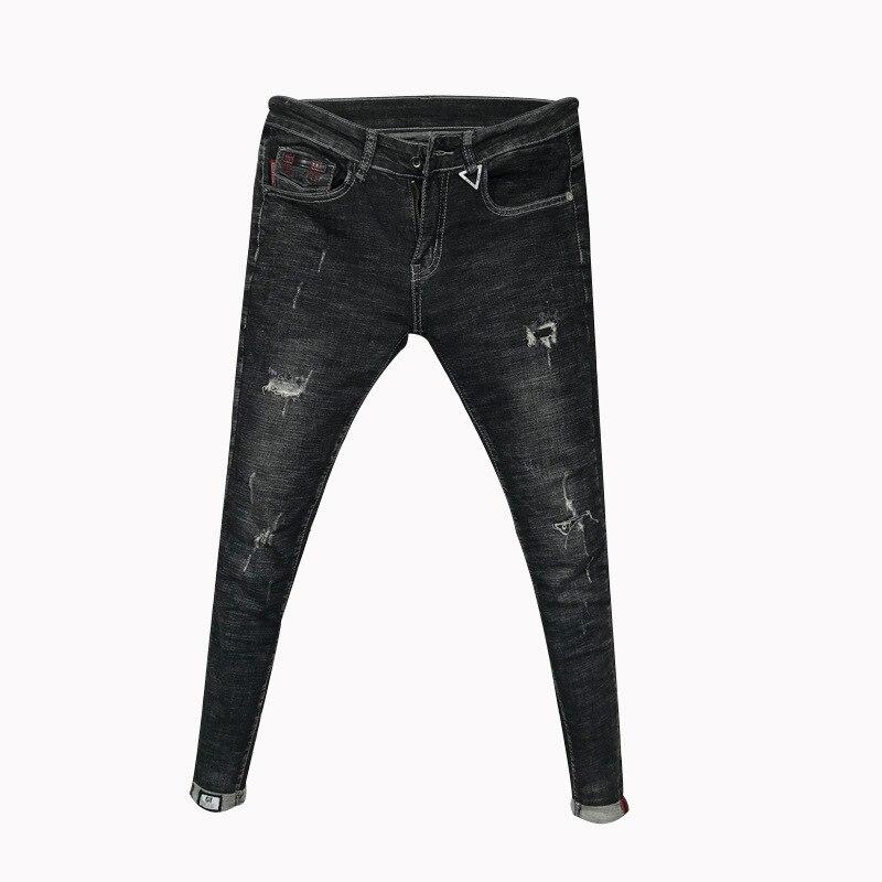 Pantalones De Mezclilla Para Hombre Jeans Ajustados A La Moda Moda Coreana Pantalones De Lapiz Con Pelo Estilista Para Jovenes Moda 2020 Leather Bag