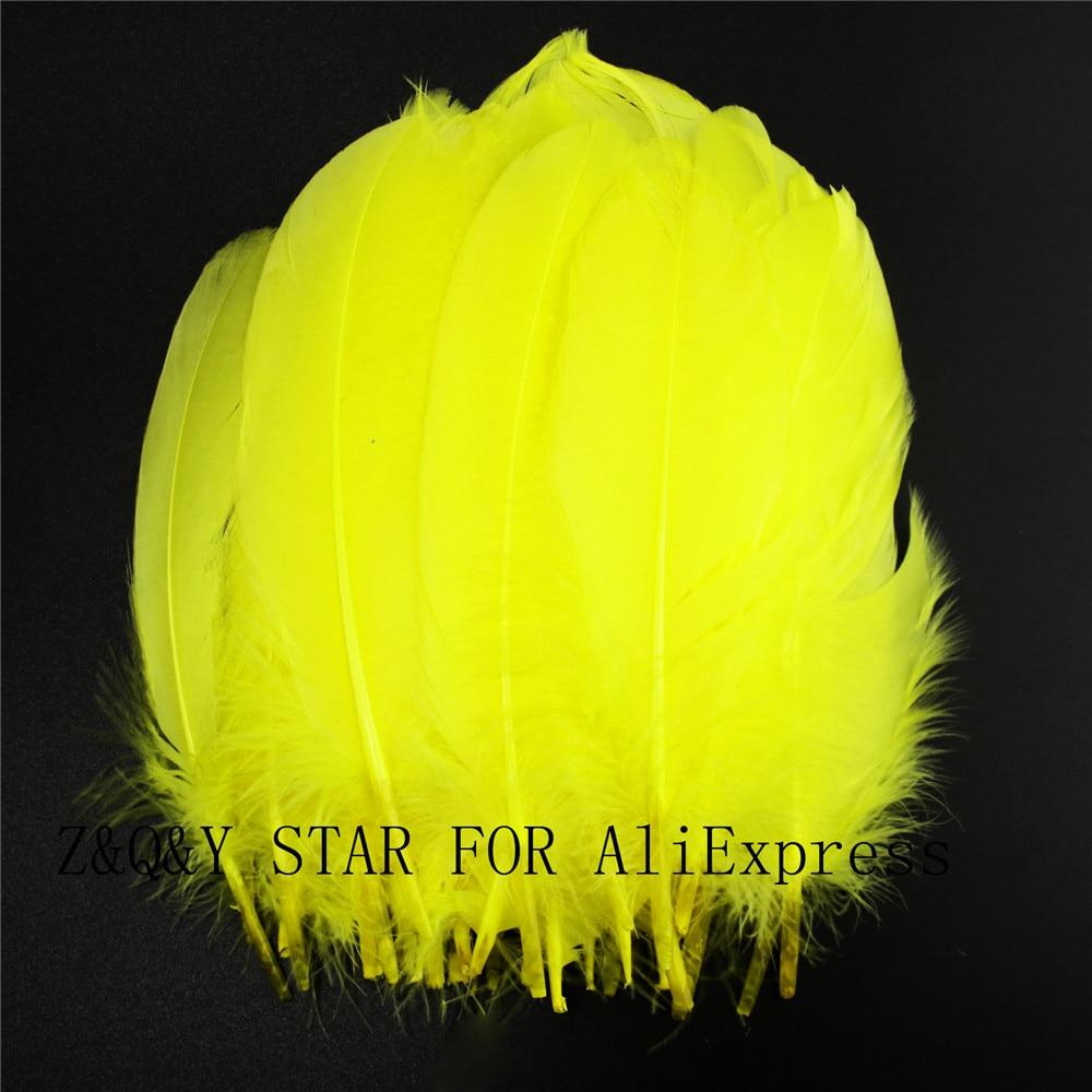 50-200 natürliche gans federn 15-20CM gefärbt gelb DIY handwerk schmuck kleidung federn