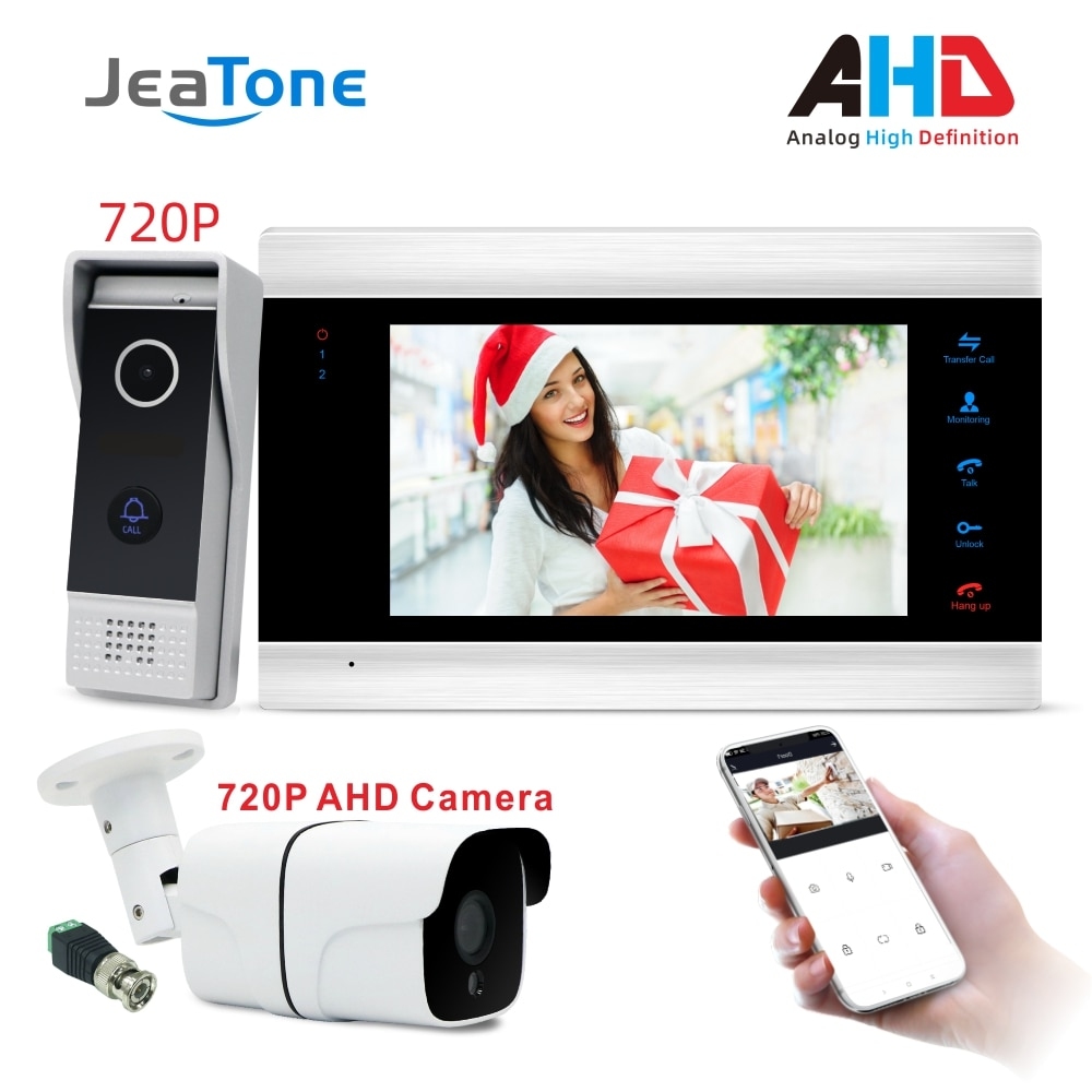 WiFi Smart IP Video Door Phone Intercom System Door Speaker 720P AHD Out Call Panel+7 inch High HD Monitor +720P AHD Camera smart phone control wireless wifi video door phone intercom 720p hd 1 0mp outdoor camera ip doorphone doorbell system p2p