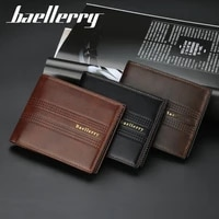 baellerry pu business zipper punk style holder wallet male synthetic leather man purse coin purse multi card position men wallet