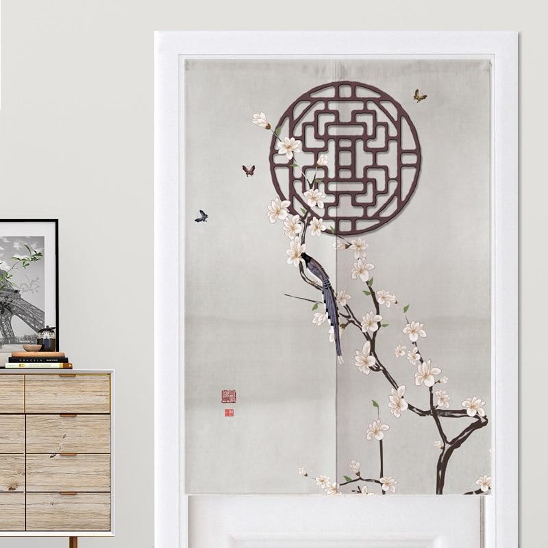 الصينية زهرة و الطيور غرفة نوم ستارة الباب المطبخ نصف ستارة الحمام الستار فنغ شوي الستار Noren
