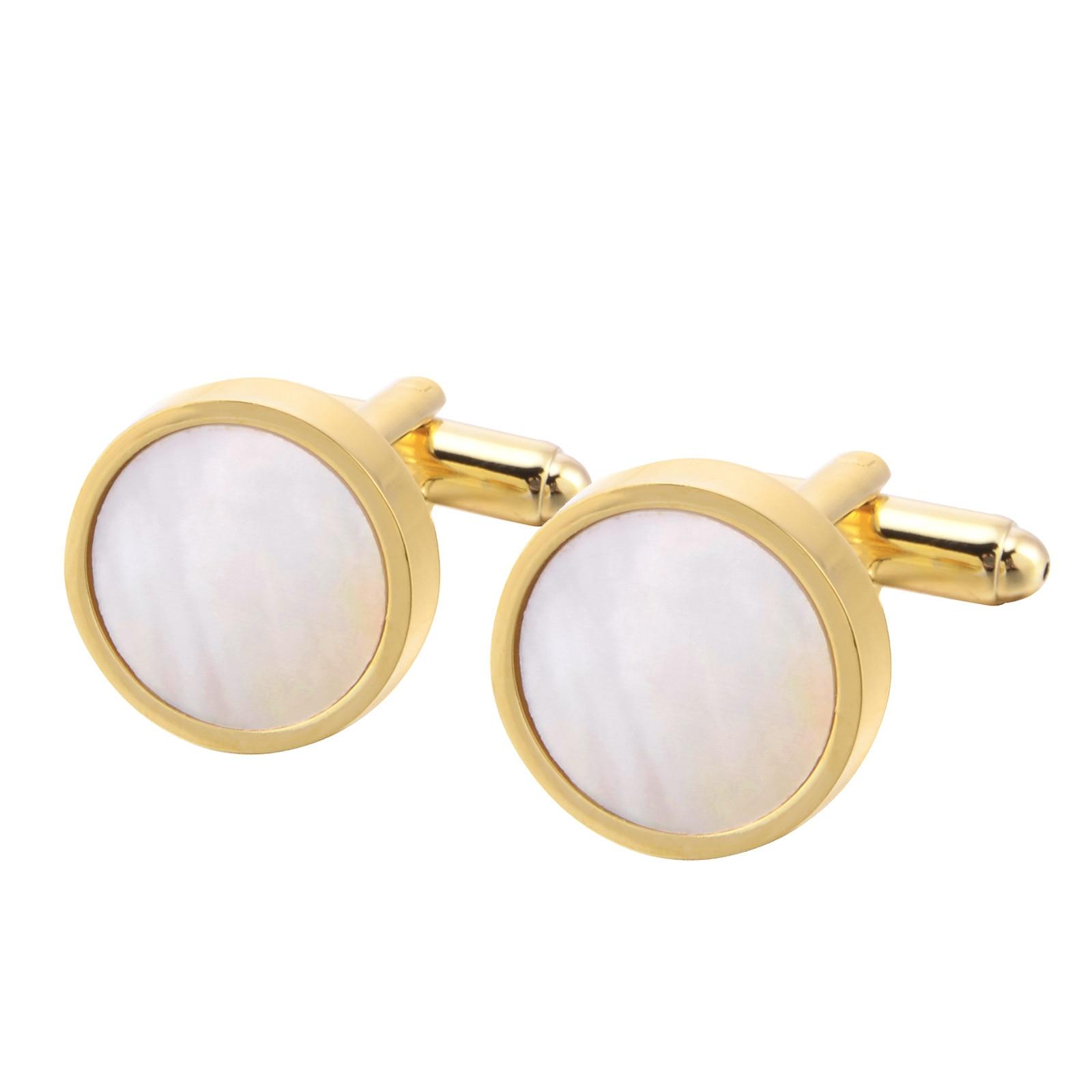 Gemelos para camisa de traje redondo de perlas doradas brazalete botones de enlaces Natural Fritillaria francés gemelos de alta calidad para hombre Regalos