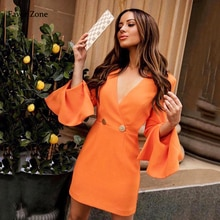 Office Lady Dress Autumn V Neck Flare Long Sleeve Button Zippers Solid Color Elegant Formal Women Dr