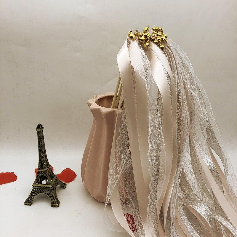 10 piezas de encaje de cinta varitas boda girando serpentinas cinta Streamers palo con Bell para fiesta de boda casa Decoración
