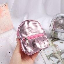 1PC Mini Rucksack für Puppen Kleine Tuch Doppel-reißverschluss Puppe Tasche Null Brieftasche Kinder Kinder Geschenke Puppen Spielzeug Zubehör