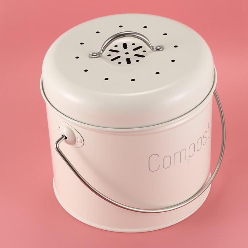 Cozinha de Aço Composter para Resíduos de Alimentos Filtro de Carvão Compostagem Inoxidável Cozinha Bin 3l