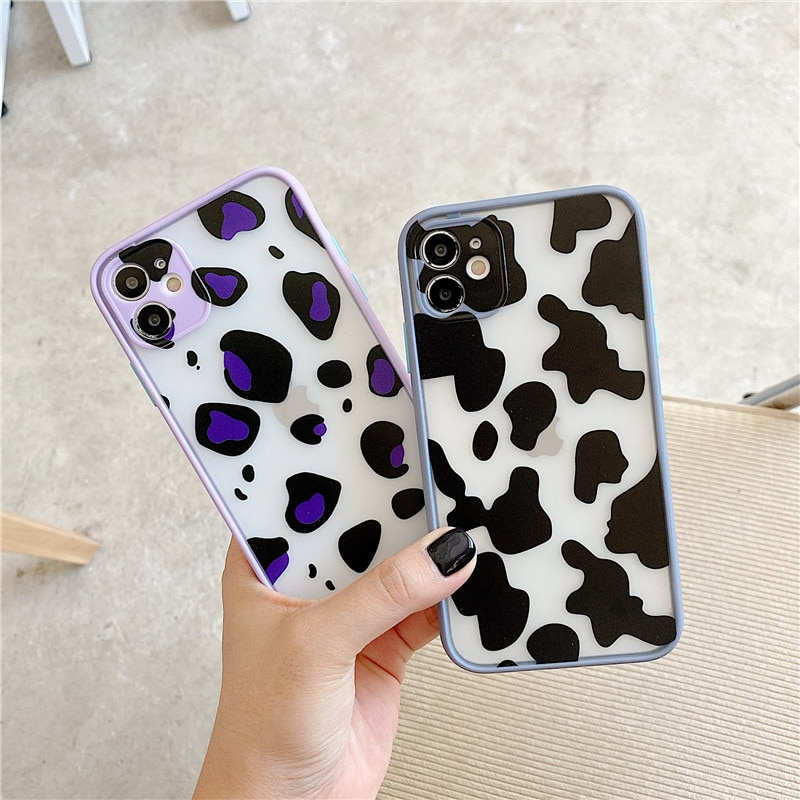 JAMULAR Candy Black Cow estampado de símbolo de patrón de teléfono para iPhone 7 XS MAX 11 Pro SE 2020 X XR 6s 8 Plus cubierta mate a prueba de golpes
