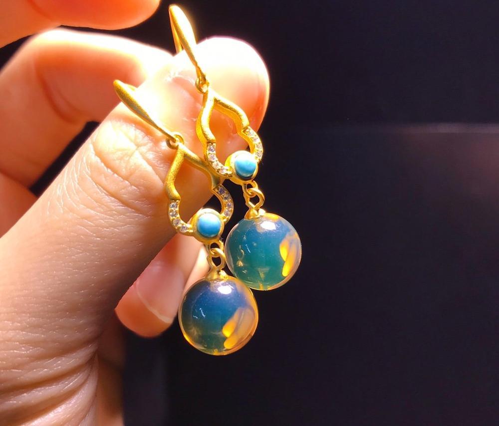 Bisutería mujer 2020 pierre naturelle joyeria nuevo lujo ámbar México Perla Azul 925 Plata pendientes oorbellen voor vrouwen