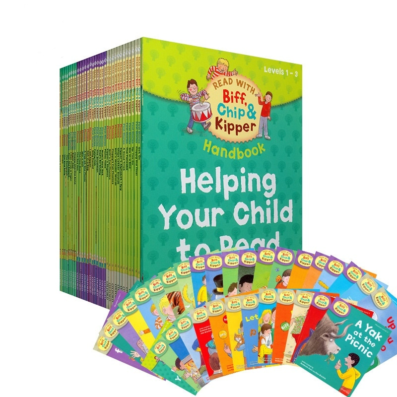 Oxford Reading Tree 1 Set 33 Books 1-3 Level Biff Chip&Kipper Hand English Phonics Story Picture Book Children Books Education biff chip and kipper alphabet games stages 1 3