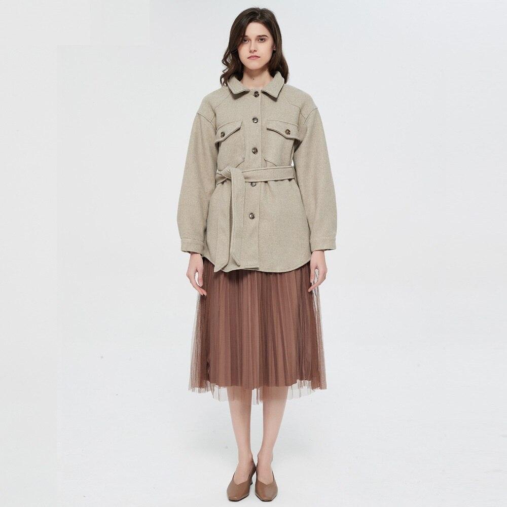 ربيع الخريف المرأة Vintage جيوب جانبية طويلة الأكمام الإناث ملابس خارجية أنيقة معطف الموضة مع حزام فضفاض الصوف سترة معطف