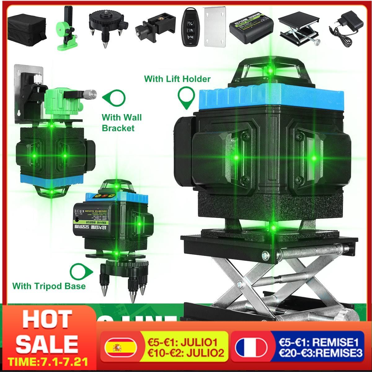 مستوى الليزر الأخضر رباعي الأبعاد ذو 16 سطرًا ذاتي الاستواء ، جهاز تحكم عن بعد لاسلكي ، 360 خطوط متقاطعة أفقية ورأسية مع بطارية وحامل حائط