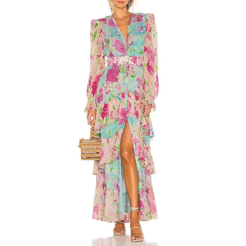 فستان ماكسي مكشكش مرقع بالوان مختلفة فستان نسائي بياقة على شكل V وأكمام طويلة وخصر مرتفع فساتين منقسمة جانبية للنساء 2021 ملابس