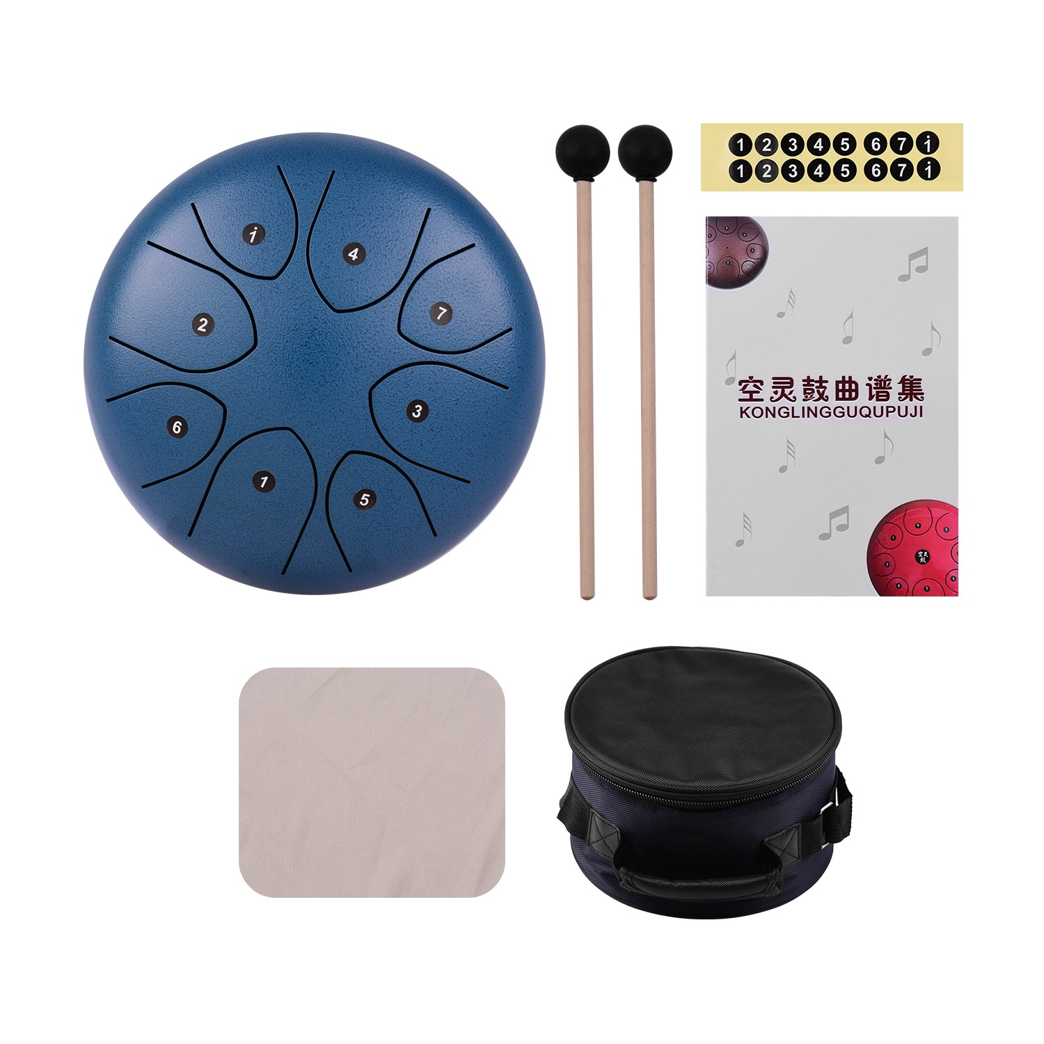 8 Inch 8-Tone Steel Tongue Drum Hand Pan Drum Percussion Instrument with Drum Mallets Carry Bag Music Book Sticker Wipe Cloth