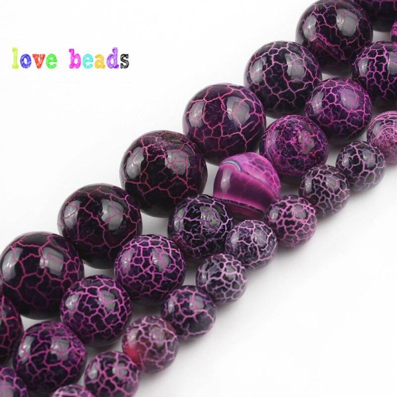 6/8/10mm Natürliche Lila Oxidiert Helle Achate Stein Runde Lose Perlen für Schmuck Machen Diy Armband 15 /strang