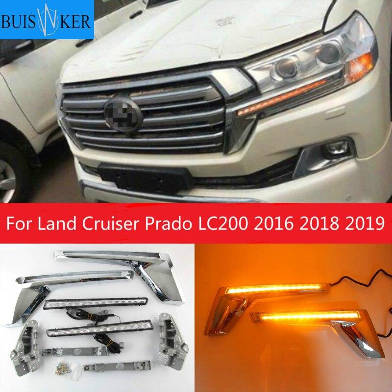 Luz Led de señal para coche compatible con Land Cruiser, Prado LC200 2016 2018 2019, intermitente amarillo, LED, indicador de espejo cromado