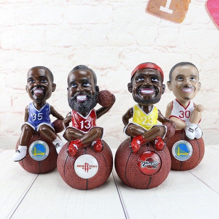 Hucha de estrellas de baloncesto creativa, decoración de artesanía de resina, caja de ahorro de dinero para regalo para niños