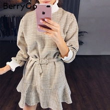 Berrygo inverno xadrez mini vestidos de mulher tartaruga pescoço tweed vestido curto feminino vintage plissado faixa outono escritório senhoras vestidos
