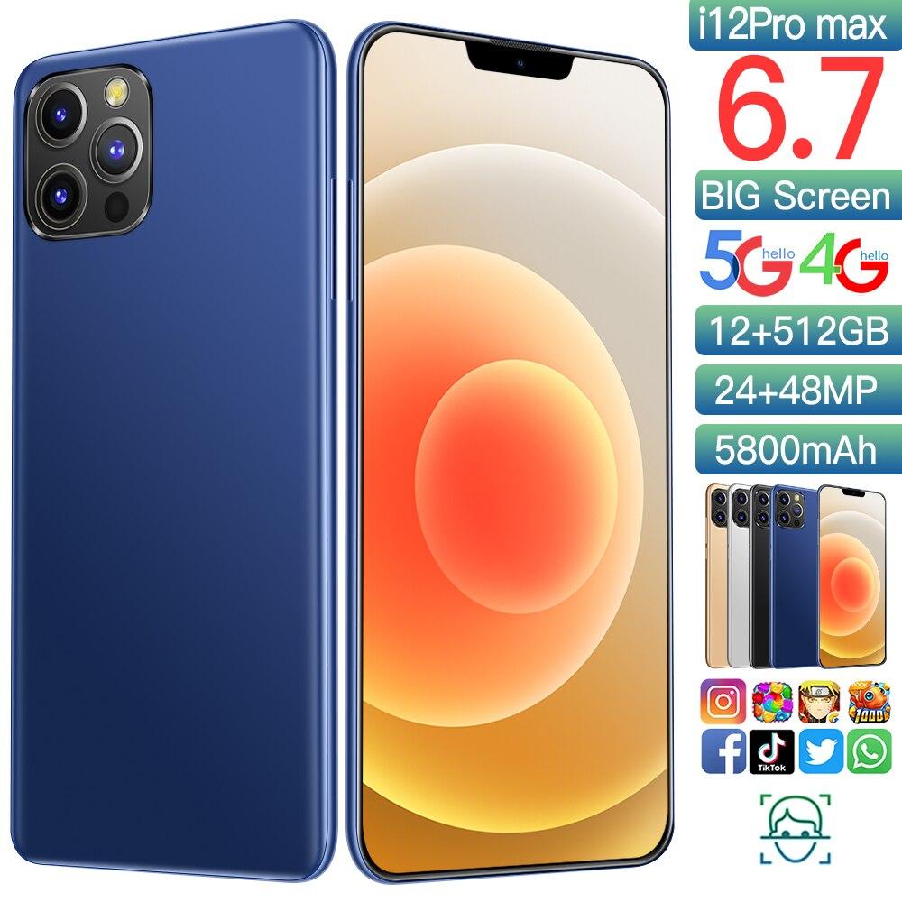 Смартфон глобальная версия I12 Pro Max, телефон с идентификацией по лицу, 12 Гб, 512 ГБ, экран 6,7 дюйма, Snapdragon 888, игровой процессор, Aple Store