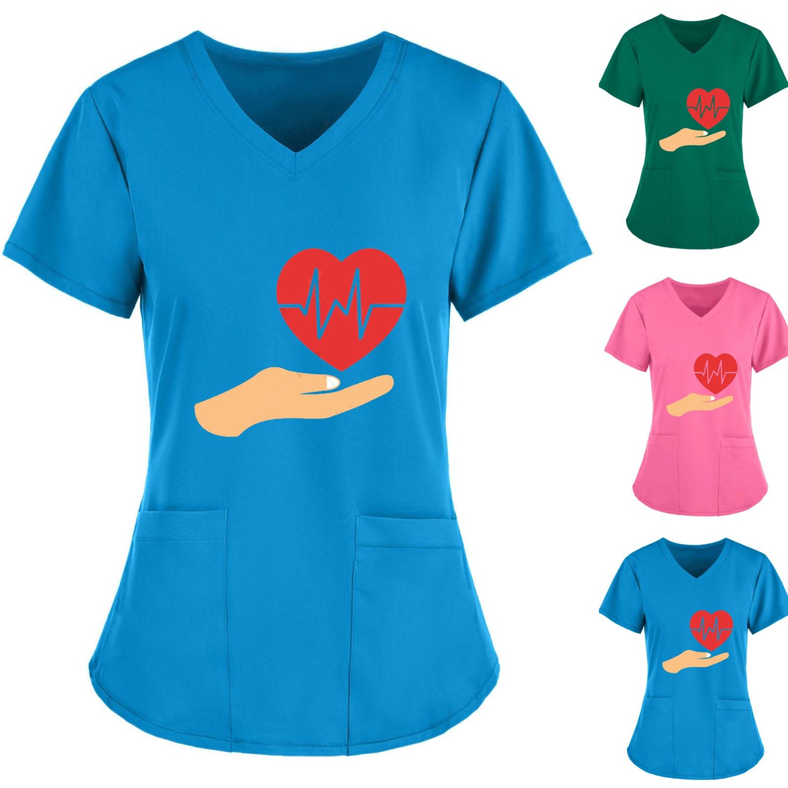 Медсестра уход комбинезоны Для женщин короткий рукав с круглым вырезом Топы Рабочая Униформа любовь, толстовка с длинными рукавами, блуза Т...