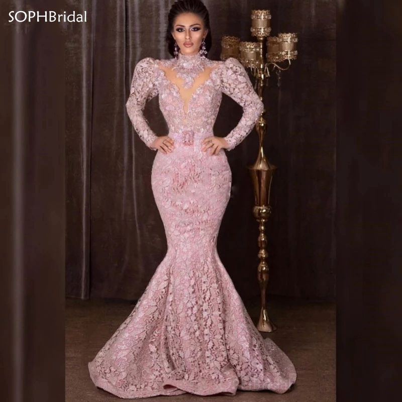 African Dubai Pakistan High Neck Lace Evening Dresses Mermaid Long Sleeves Prom Dress Sash Women Formal Dresses Party Wear