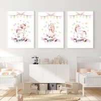 baby unicorn girl posters and prints coloured flags bowknot canvas painting inspirational quotes wall art pictures nursery decor