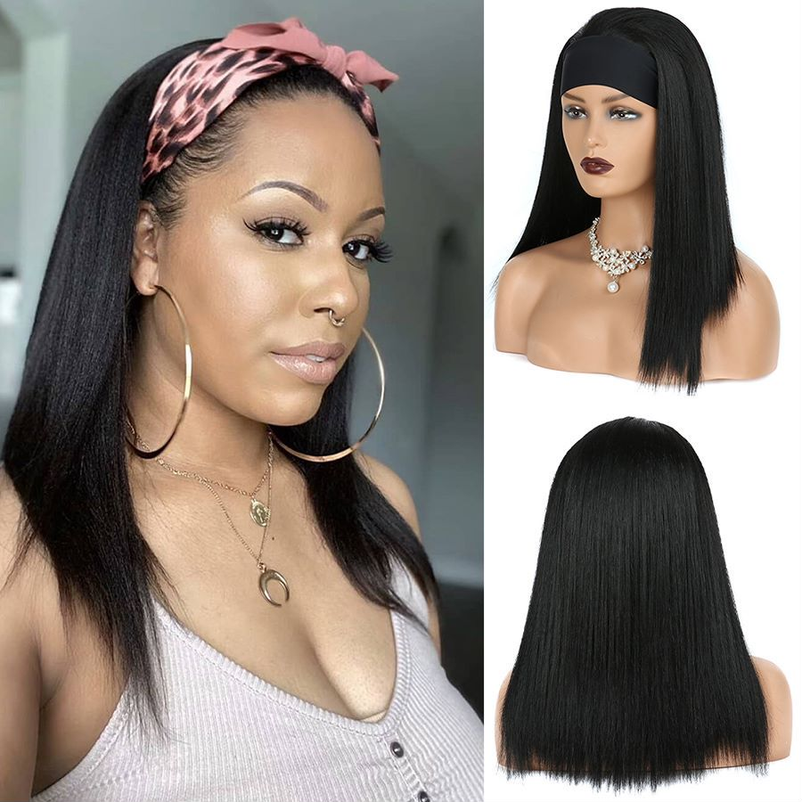 Long Black Heandband Synthetic Wig Straight Wig for Afro Women Daily Use Fake Hair Natural Looking