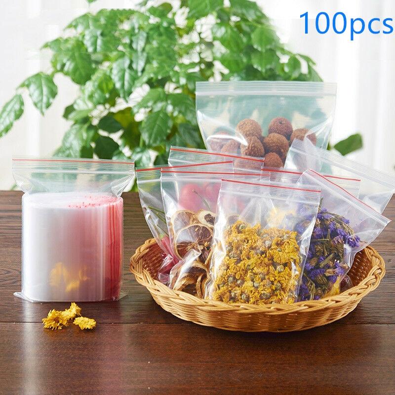 100*Resealable Zip Lock Bag Storage Bag Self Seal Clear Plastic Poly ziplock bag Storing Food Jewelry Cosmetics зип пакеты