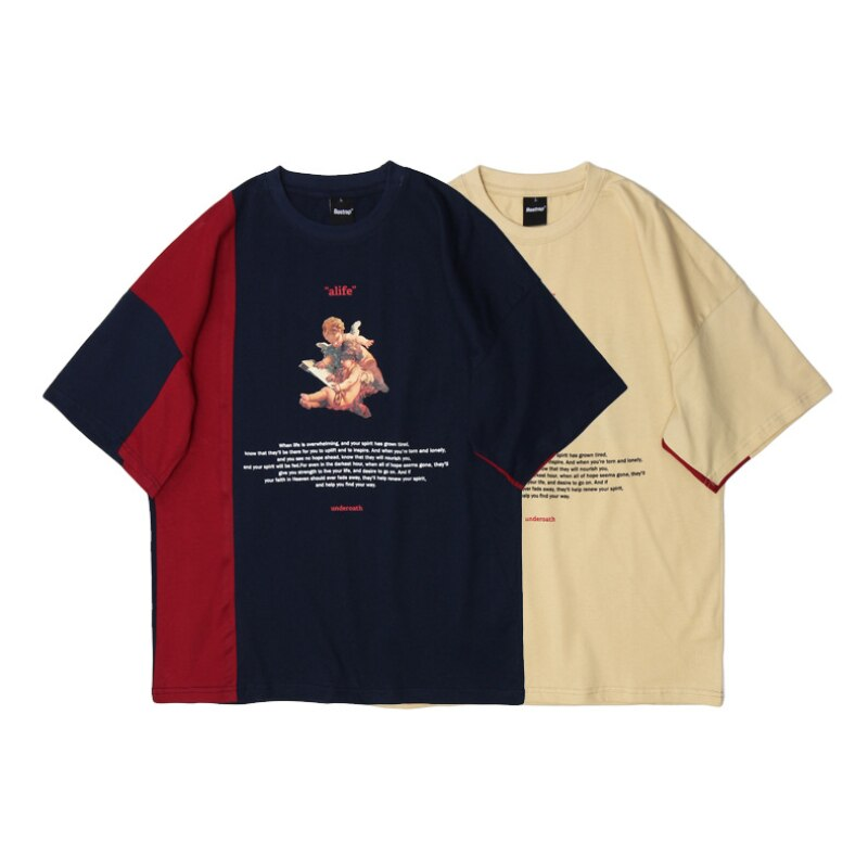 2021 Print Block Patchwork Short Sleeve T-shirt Men's Summer Hip Hop Realme Harajuku Casual Cotton T