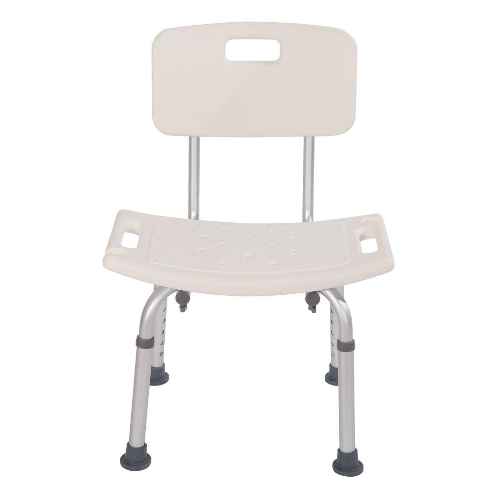 Silla de ducha ajustable, asiento, respaldo, silla de baño, aleación de aluminio resistente