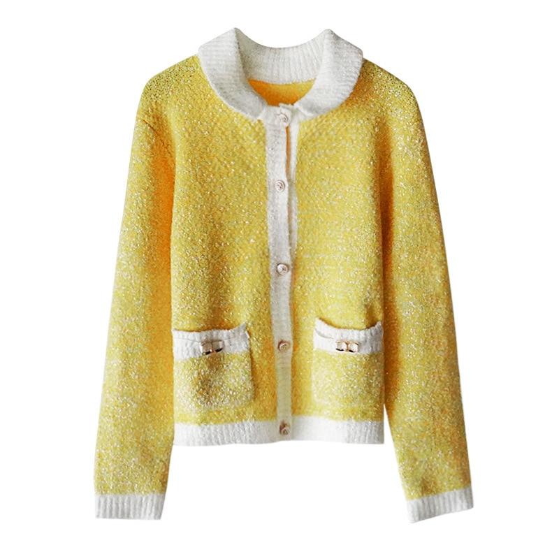 Gezelligheid 2021 Autumn Runway Fashion Designer Elegant Lapel Casual Slim Knitted Mohair Luxury Sweater Cardigan Coat Jacket enlarge